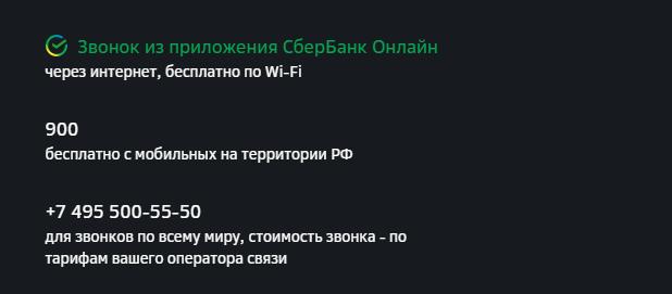 Номера СберБанк